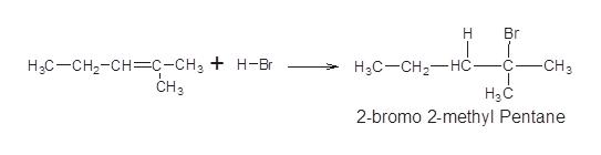 Н Br Нас—сн-сн—с-сн, + н-вr CHз -CHз С Нас—сH-—нс НаС 2-bromo 2-methyl Pentane