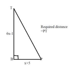 Required distance PT бх-1 х+5