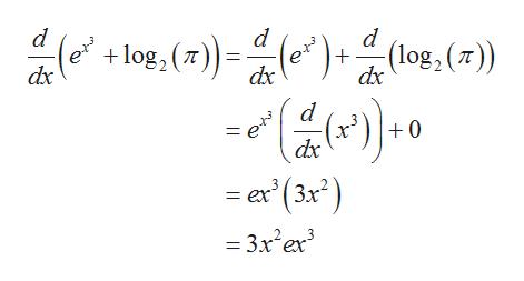 d d +log, (7) -(e) (log, () dx dx dx () ex (3x) d = e dx 0 = 3x er