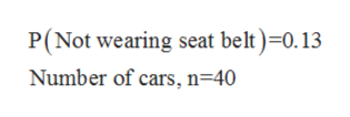 P(Not wearing seat belt)=0.13 Number of cars, n=40