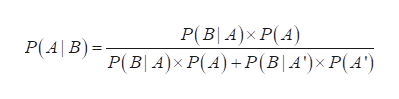 P(BA)x P(A) P(4\B)= P(B| 4)x P(A) +P(B| A')x P(A')