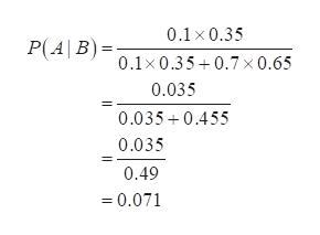 0.1 x 0.35 P(AB)= 0.1x0.35+0.7 x0.65 0.035 0.035 0.455 0.035 0.49 =0.071