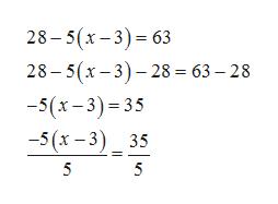 28-5 (х-3) - 63 28-5(х - 3)- 28 - 63— 28 -5(х - 3) - 35 -5 (х - 3) _35 5 5