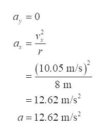 а, 3 0 х а, (10.05 m/s) 2 8 m 12.62 m/s2 а %3D12.62 m/s?