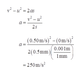 2-u22as a = 2s (0.50m/s)- (0m/s) 0.001m 2(0.5mm) 1mm 250m/s2