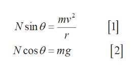 mv2 Nsin [21 N cos0 = mg