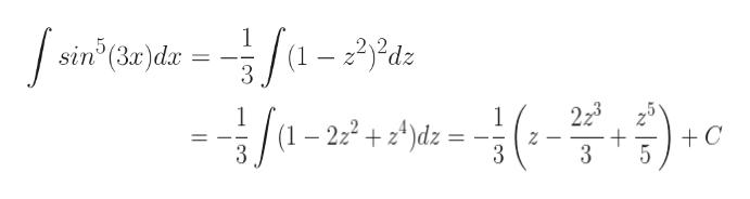 1 sin (3r)dar 5 dz 3 223 + 3 --c 1 /1-22+d=- +C Z 3