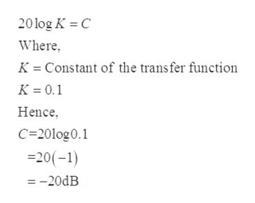20log K C Where Constant of the transfer function K K 0.1 Hence C 20log0.1 20(-1) =-20dB