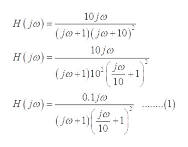 10 jo H(jo) (jo+1(jo+10) 10 jc H(jo) jo 1 (jo+1)10 10 0.1j ...1) H(jo) = jc (jo+1 +1 10