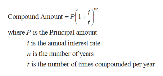 nt Compound Amount P1 where P is the Principal amount i is the annual interest rate n is the number of years t is the number of times compounded per year