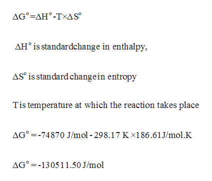 AG-AH-TXAS AHis standardchange in enthalpy, ASo is standard changein entropy Tis temperature at which the reaction takes place AG°=-74870 J/mol -298.17 Kx186.61J/mol.K AG -130511.50 J/mol
