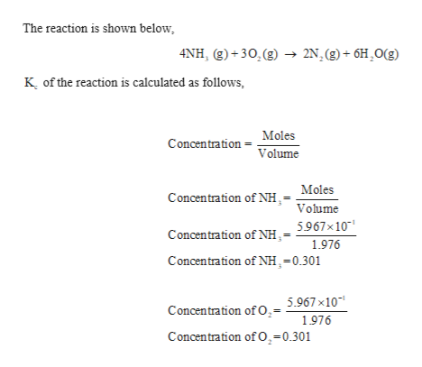 The reaction is shown below 4NH, (g)+30,(g) - 2N.(g)+6H,O(g) K of the reaction is calculated as follows, Moles Concentration Volume Moles Concentration of NH,- Volume Concentration of NH.= 5967x10 1976 Concentration of NH,=0.301 Concentration ofO.= 5.967 x10 1976 Concentration of O,-0.301