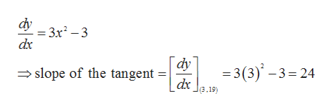 dy = 3x2-3 dx dy =3 (3)-3 24 dx slope of the tangent (3.19)