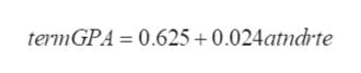 termGPA = 0.625+0.024atndrte