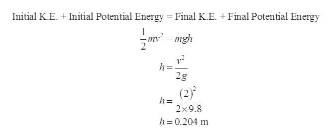 Initial K.E. Initial Potential Energy Final K.E. +Final Potential Energy 1 mv2=mgh h= 2g (2) h= 2*9.8 h 0.204 m