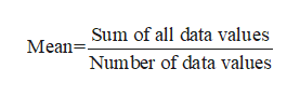 Mean-Sum of all data values Number of data values