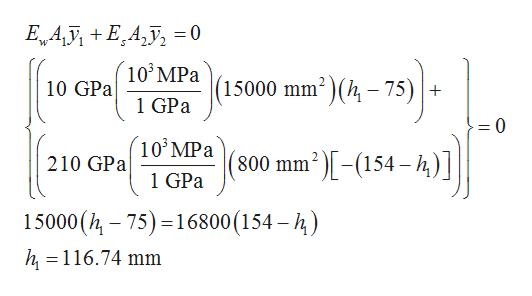 Ew A EA = 0 10 MPa 1 GPa mmk- 75) 15000 10 GPa =0 10 MPa )-(154-4)] 210 GPa 800 mm 1 GPa 15000 (h 75) 16800(154-) h, 116.74 mm