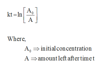 AO kt In A Where, Agiitialcon centration A amount left after timet