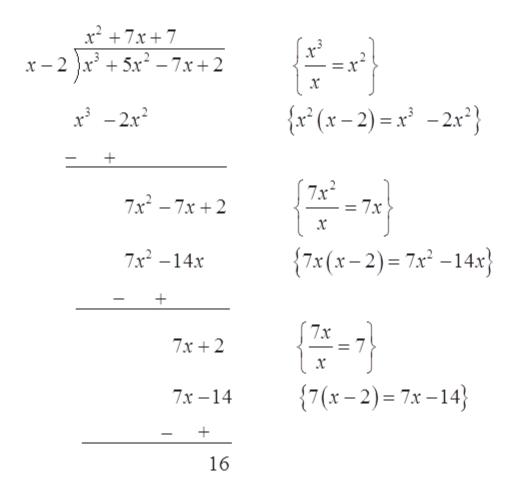 x7x7 x-2x5x-7x+2 x {x° (x-2)=x -2x} (7x2 = 7x 7x2-7x 2 7x (x-2)= 7x° -14x} 7x2-14x 7x 7x+2 x {7(x-2)= 7x-14 7x-14 16