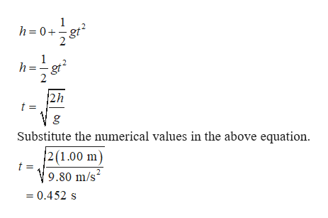 h=0+gt h=g gt2 2h t = g Substitute the numerical values in the above equation. 2(1.00 m) 9.80 m/s = 0.452 s