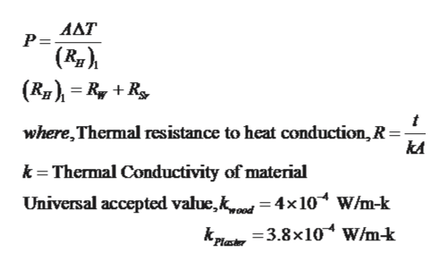 AAT Р- |(R) (RRR where,Thermal resistance to heat conduction, R = kA k Thermal Conductivity of material Universal accepted value,k 4x10 W/m-k Plakr 3.8x10 w/m-k