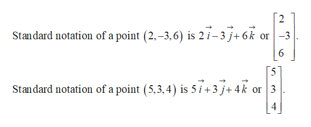 2 Standard notation of a point (2,-3,6) is 2 i-3 j+6k or -3 5 Standard notation of a point (5,3,4) is 5 i 3 j+4k or 3 4