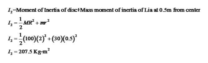 I,-Moment of Inertia of disc+Mass moment of inertia of Lia at 0.5m from center 1 2 4(100(2+(50)(05) I2 207.5 Kg-m2