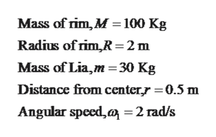 Mass of rim, M 100 Kg Radius of rim,R2 m Mass of Lia,m =30 Kg Distance from centerr 0.5 m Angular speed,a =2 rad/s