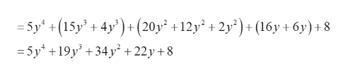 =5y +(15y' +4y+ (20y +12y2 + 2y?)+(16y +6y)+ 8 -5y19y34y +22y +8