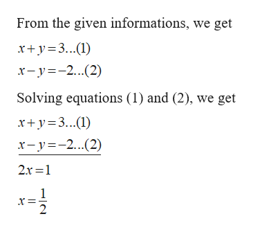 From the given informations, we get xy3.) x-y-2(2) Solving equations (1) and (2), we get xy3() x-y2(2) 2r 1 2