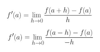 f'(a) lima h) - f(a) h h-0 f'(a) = lima-h)- f(a) -h h-0