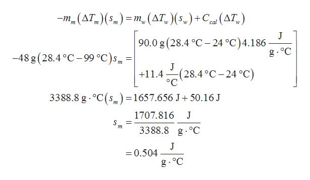 -m (AT,) ( 5) = m. (AT, ) (5,) +C (AT) W J 90.0 g (28.4 C -24 °C)4.186 g oC -48 g (28.4 °C-99 °C)s J :(28.4°C-24 °C) ° C +11.4 3388.8 g oC(s=1657.656 J 50.16 J m 1707.816 S m 3388.8 g.°C J =0.504 g. °C