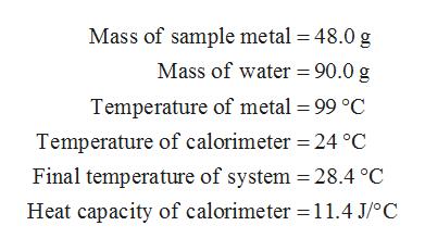 Mass of sample metal 48.0 g Mass of water = 90.0 g Temperature of metal 99 °C Temperature of calorimeter 24 °C Final temperature of system = 28.4 °C Heat capacity of calorimeter 11.4 J/oC