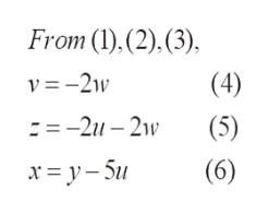 From (),(2),(3) v -21w (4) -2u-2w (5) (6) x=y-5u