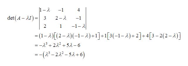 1-2 -1 4 det(A- )3 2 2 -1 2 1 -1- -(1-A)(2-2(-1-2)+1]+1[3(-1-A)+2]+4[3-2(2-2)] =-23222+52-6 -(2-222-5A+6)