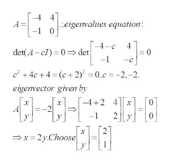 4] eigenvalues equation -1 0 4 A -4-c 4 det(A-cI) 0>det -1 c+4c+4 (c+2) = 0,c =-2,-2 eigenvector given by -42 4 х х -1 х x2yChoose