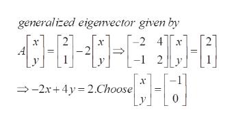 generalized eigenvector given by 2 4 x -1 2 -2x+4y 2.Choose