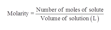 Number of moles of solute Molarity Volume of solution (L)