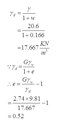 1w 20.6 1+0.166 KN =17.667 m GY 1+e GY .e = 2.74x9.81 -1 17.667 0.52