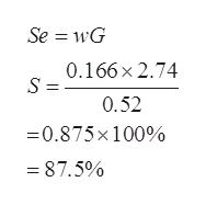 Se = wG 0.166x 2.74 0.52 0.875x100% 87.5%