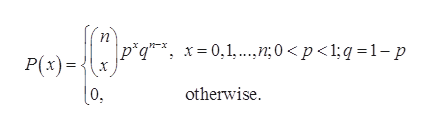 n * p*q* x= 0,1..7;0 <p<1;q 1-p P(x) |0 otherwise.