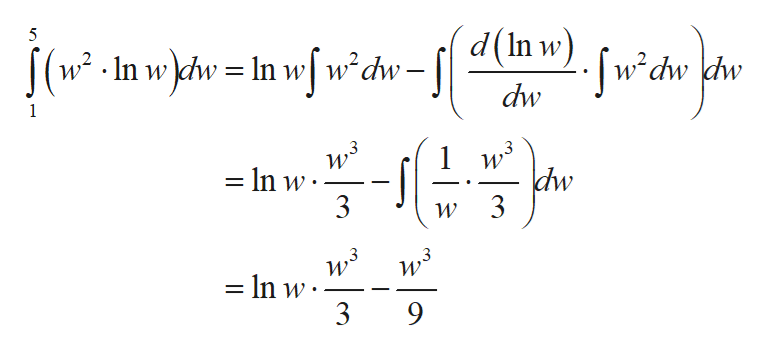 5 |(w-In w\dw = In w[w?dw=[{ d(n w).sw?dw |dw dw 1 dw 3 = In w 3 - _ In w 3