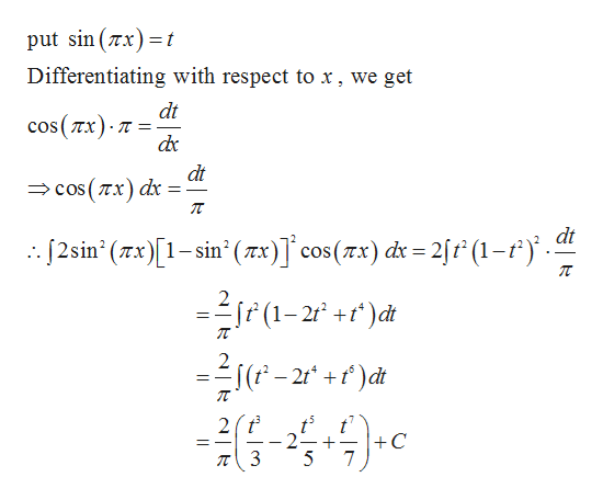 put sin (x t 1 Differentiating with respect to .x, we get dt cos(Tx) dc dt cOs (Tx) dx dt 2sin (x)1-sin' (xx)] cos(zx) di 2/f (1-4.5 _ 2 Sf(1-2 +)d _ (-2 dt 2t 2 T3 t' C