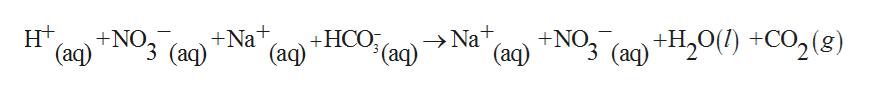 н+ (аq) (aq)+NO3 (aq) +НСО +Na +NO, Na+ (ag) +Н,о() +со,(8) $(aq) (аq) (aq)