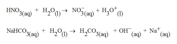 """HNO """"3 (аq) H20N3(a)H20"""" Ox (1) 3 (аq) NaHCO H20C """"3(ад) H2CO3(aq) OH Nat (aq) (aq)"""