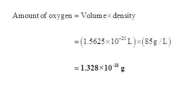 Amount of oxygen Volumex density (1.5625x100 L)x(85g /L) =1.328x1015 g