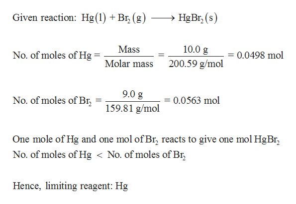 Given reaction: Hg(1) + Br3 (g) HgBr, (s) 10.0 g Mass No. of moles of Hg = 0.0498 mol 1 Molar mass 200.59 g/mol 9.0 g No. of moles of Br = 0.0563 mol 159.81 g/mol One mole of Hg and one mol of Br, reacts to give one mol HgBr No. of moles ofHg < No. of moles of Br Hence, limiting reagent: Hg
