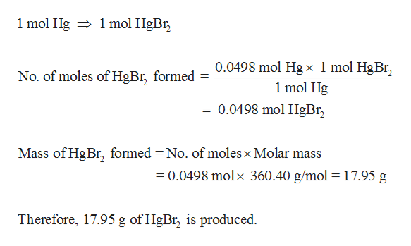 mol HgBr 1 mol Hg 0.0498 mol Hgx 1 mol HgBr 1 mol Hg = 0.0498 mol HgBr No. of moles of HgBr, formed Mass of HgBr, fomed = No. of moles x Molar mass 0.0498 molx 360.40 g/mol =17.95 g Therefore, 17.95 g of HgBr, is produced