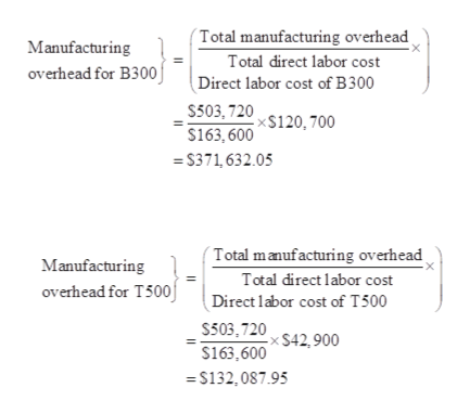 Total manufacturing overhead Manufacturing Total direct labor cost overhead for B300j Direct labor cost of B300 S503,720$120,700 s163, 600 =S371,632.05 Total manufacturing overhead Manufacturing Total direct labor cost overhead for T500j Direct labor cost of T500 S503.720 $42,900 $163,600 S132,087.95