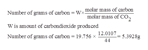 Number of grams of carbon = Wxmolar mass of carbon molar mass of CO2 Wis amount of carbondioxide produced Number of grams of carbon = 19.756 x 12.0107 44 5.3928g